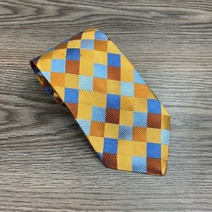 Jos A Bank Signature Gold & Blue Check Tie